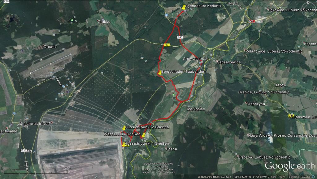 Route der Radtour am 22. August 2014 von Kerkwitz nach Grießen und zurück (23km) – google earth