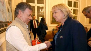 Der kolumbianische Präsident Juan Manuel Santos und Ministerpräsidentin Hannelore Kraft in Bogotá. Quelle: land.nrw