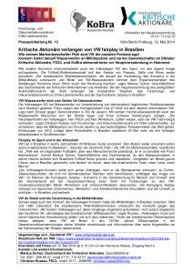 PM zu VW von FDCL, KoBra, Dachverband kritische Aktionäre