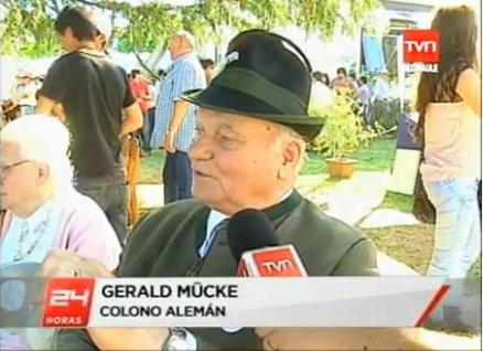 """Das verurteilte Führungsmitglied Gerhard Mücke 2012 während des """"Oktoberfestes"""" in der Colonia Dignidad in Chil"""